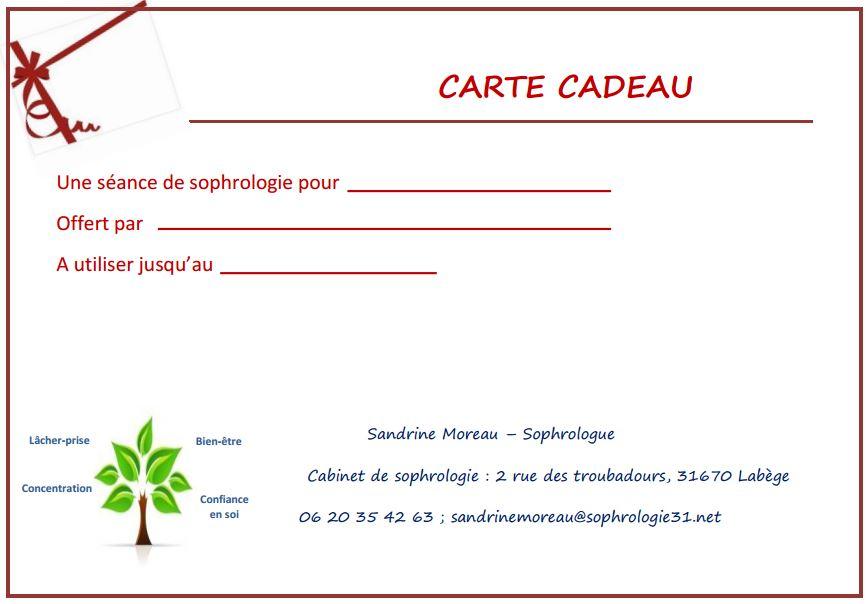 Célèbre Pensez à la carte cadeau sophrologie - Sandrine Moreau, Sophrologue PH03