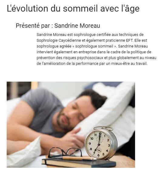 Evolution du sommeil avec l'âge